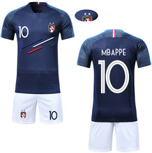 Boy Soccer Short Sleeve 2018 France 2 Stars Training Jerseys MBAPPE GRIEZMANN POGBA Kids Football Shirts& Shorts Suits(China)