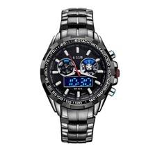 Новый Топ Спорт Водонепроницаемый Стальной Лентой 6.11 Часы Армии LED Двойное Движение Кварцевые и Цифровые Мужчины Военный Наручные Электронные Часы