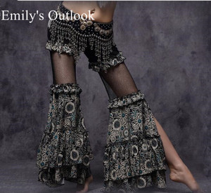 Image 2 - Belly Dance Tribal Fusion Women Cotton Garter Pants Stripe Side Slit Belly Dance Trousers M L Black White Maroon Free Shipping