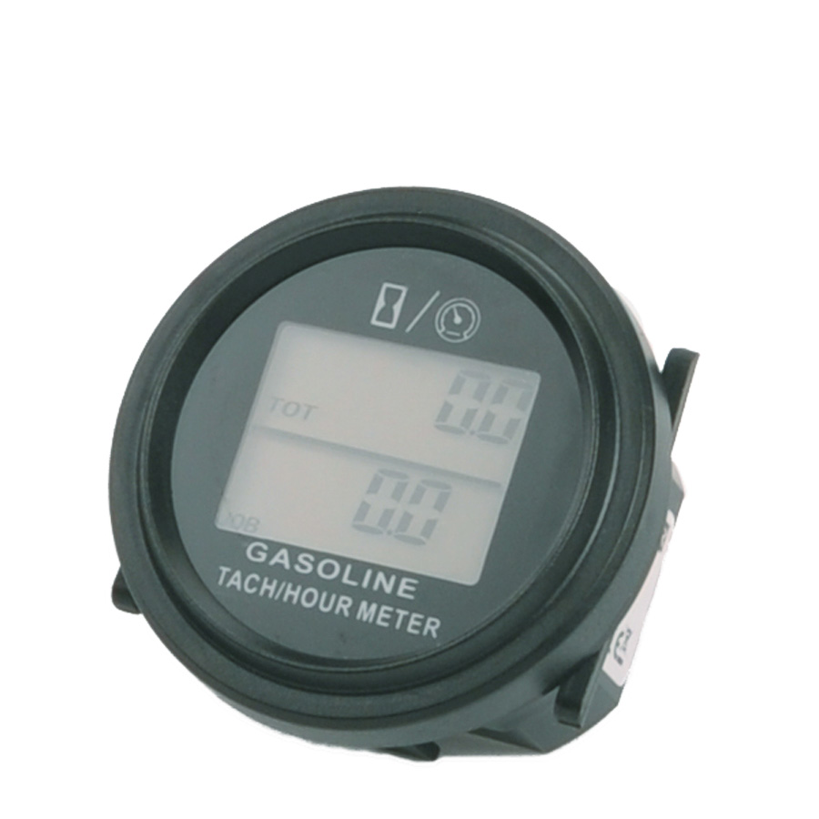 Free Shipping large LCD backlight Hour Meter Tachometer For Gas Engine 2/4 Stroke Engine Digital Spark Plugs Motorcycle