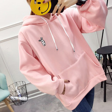 2019 Women Hoodie Hoody Sweatshirts Drawstring Pockets Pullove with Rabbit Ears Sweatshirt Lady Hooded Loose Top Blue/Pink/White black and white colour matching drawstring hooded hoodie