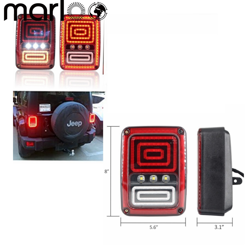 Marloo Snake Style LED Brake Turn Signal Tail Light For Jeep Wrangler JK 2007 2008 2009 2010 2011 2012 2013 2014 2015 2016 2017 for jeep wrangler jk 2007 2016 tail light diamond smoke led tail light