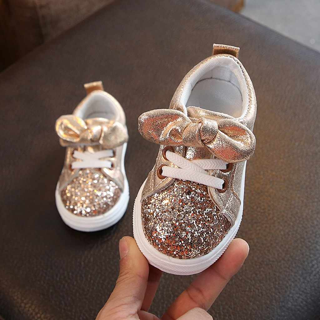 Kids Shoes Children Baby Girls boys shoes Bling Sequins children shoes Bowknot Crystal Shoes Breathable Sneakers zapatillas niño