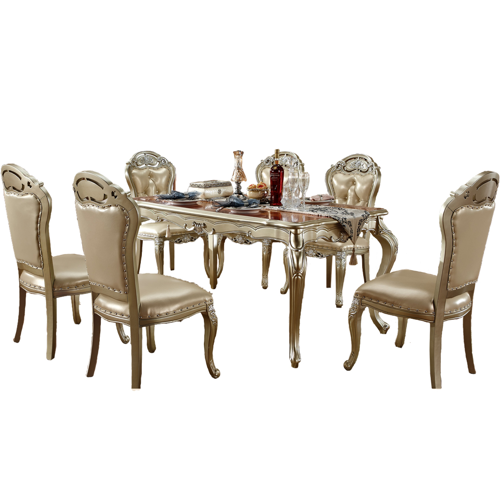 Champagne Dining Room Furniture: Champagne Silver Color Dining Room Set Table 0426 208A-in