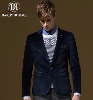 Мужчины Формальное Вельвет Костюм Куртки Тонкий Синий Мода Одной Кнопки Свадебные Жених Деловой Человек Пиджак Верхняя Одежда Весна Осень Пальто