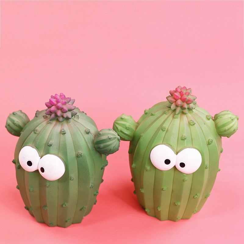 صناديق المال حصالة على شكل حيوان لطيف الكرتون cactusUnique متعة الصبار الوجه التعبير النبات الراتنج الإبداعية ديكور المنزل WZL030