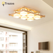 TRAZOS Modern LED Ceiling Lights Wooden Square Lamp With Dimming Remote For Living Room Dining Light Wood Bedroom Lamps