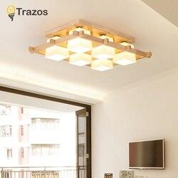 TRAZOS nowoczesne lampy sufitowe LED drewniana kwadratowa lampa sufitowa z przyciemnianiem zdalnego do salonu jadalnia jasne drewno lampy do sypialni