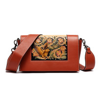 Female New Hand Carved Colorful Flower Chinese Vintage Cow Leather Women Messenger Bags