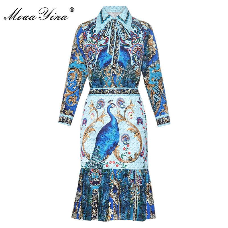 MoaaYina Fashion Designer Runway Set Summer Women Peacock Floral Print Indie Folk Vintage Blouse Pleated Fishtail