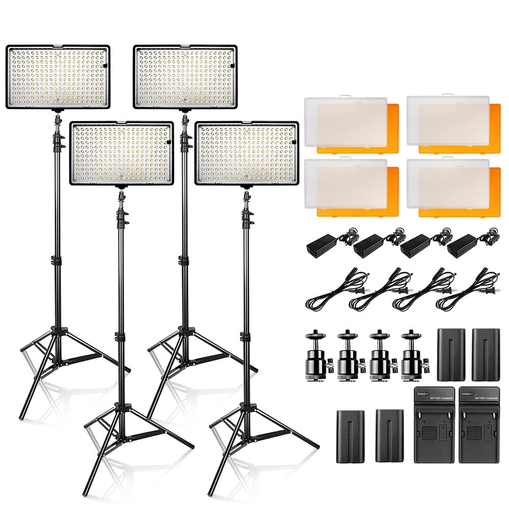LED Video Light Kit 4 in 1 24W 3200K 5500K 240pcs Led Camera Camcorder Video Light