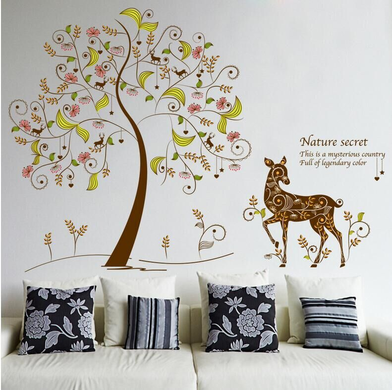 Free Shipping NEW Design Art Deers Secret Color Tree Stickers Home Decor  Creative Vinyl Cheap Removable