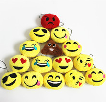 30pcs/Lot 5cm Cute Soft Emoji Smiley Emoticon Pendant Yellow Round Plush Toy Doll Christmas Gift