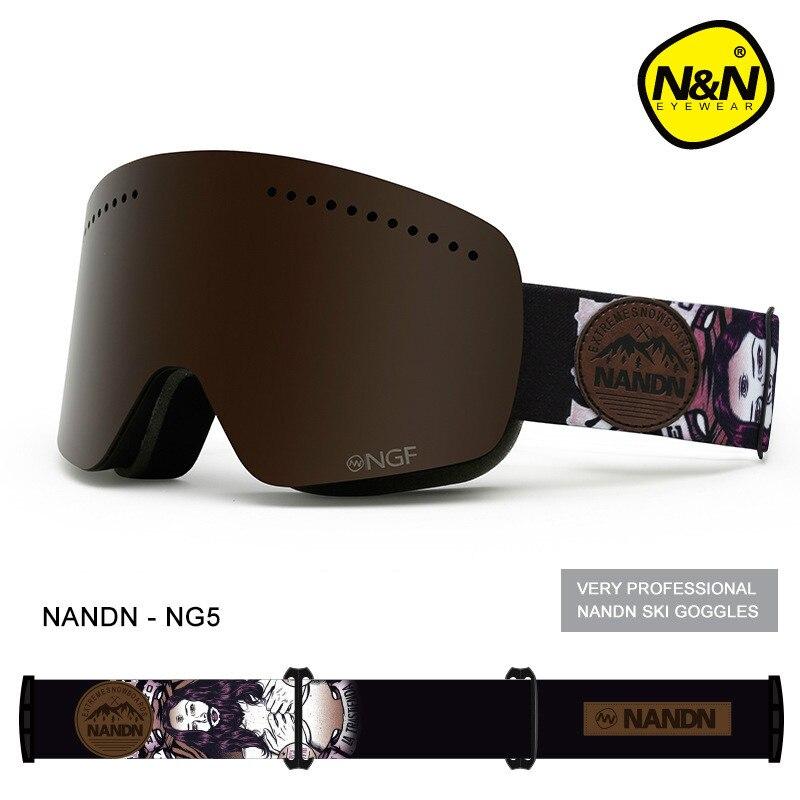 NANDN Unisexe Ski Lunettes Double UV Anti-brouillard Big Ski Masque Lunettes Femmes Hommes Ski Neige Snowboard Lunettes Multifonction lunettes