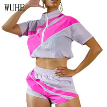 WUHE New Arrival Splicing Short Sleeve Zipper Crop Top + Horizontal Strip Casual Pants Women Summer Leisure Sport Jumpsuits
