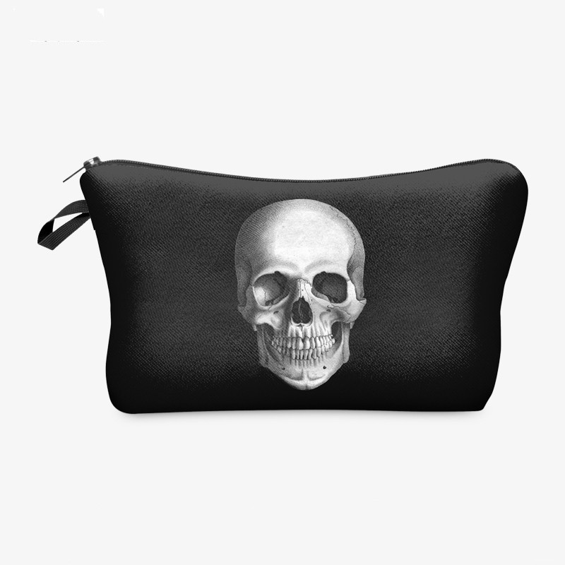 New Cosmetic Black Skull Old-school Necessaire Party Design Waterproof Makeup Bag Women Organizer Kids Stationery Hanging Purse