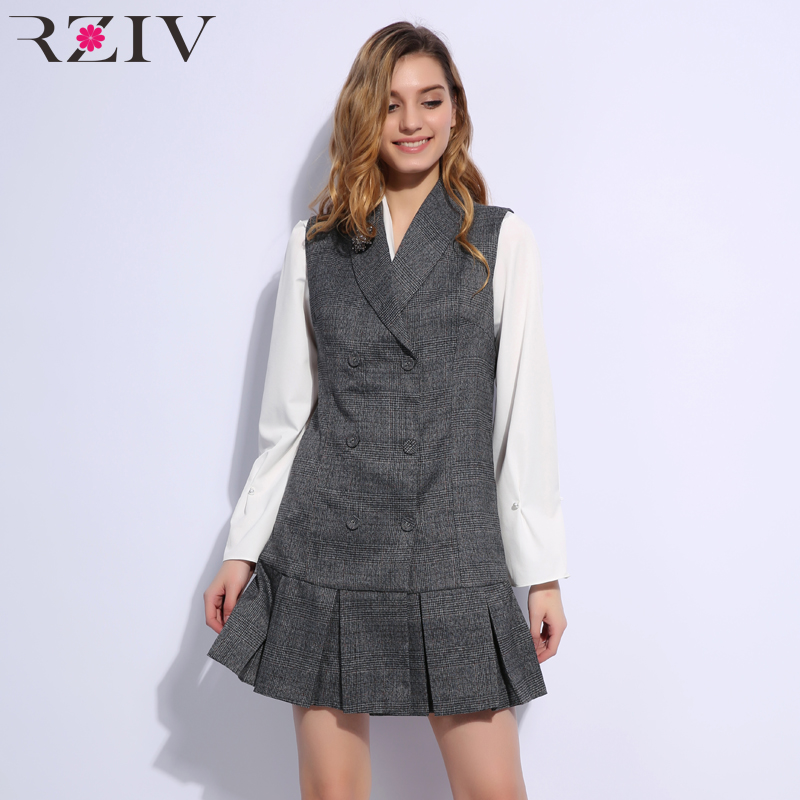 RZIV spring women dress casual plaid applique decoration sleeveless vest dress suit