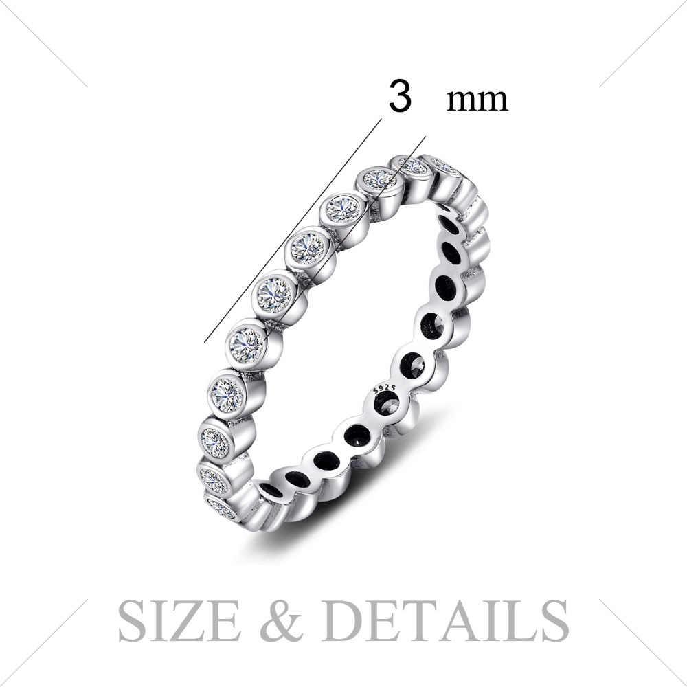 JPalace Zirconia cúbica anillo 925 anillos de plata esterlina para mujeres anillo apilable eternidad banda plata 925 joyería fina joyería