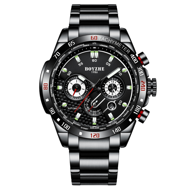 BOYZHE Montre Homme Sport Automatic Watch Men Mechanical Chronograph Wristwatches Full Steel menerkek kol saati mekanik otomatikBOYZHE Montre Homme Sport Automatic Watch Men Mechanical Chronograph Wristwatches Full Steel menerkek kol saati mekanik otomatik