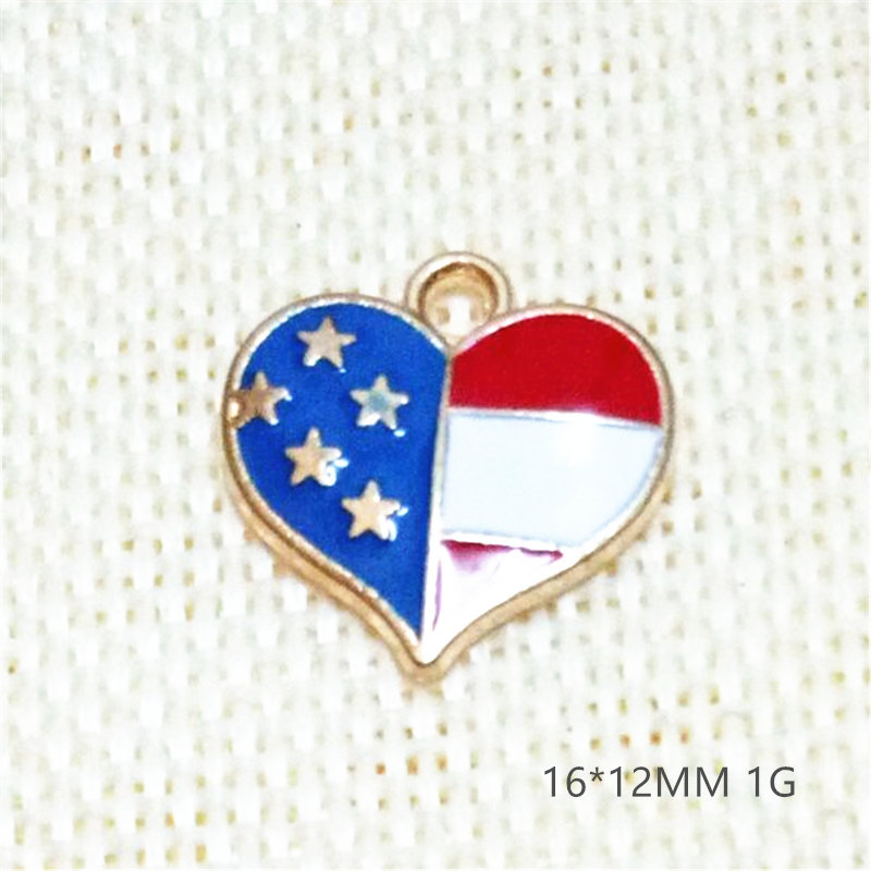new design I love America enamel heart-shaped gold-plated jewelry fashion word charms