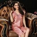 2017 Pijamas Mujer Two-piece 100% Conjuntos De Pijama De Seda Pijamas Das Mulheres de Manga Curta Twinset Sleepwear T77118 Naturais do Sexo Feminino