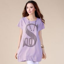 Plus Size Summer T-shirt Women 2019 New 8 Color Diamond-studded Letter Cotton Tees Round Neck Fashion T Shirt Tops Female HJ251