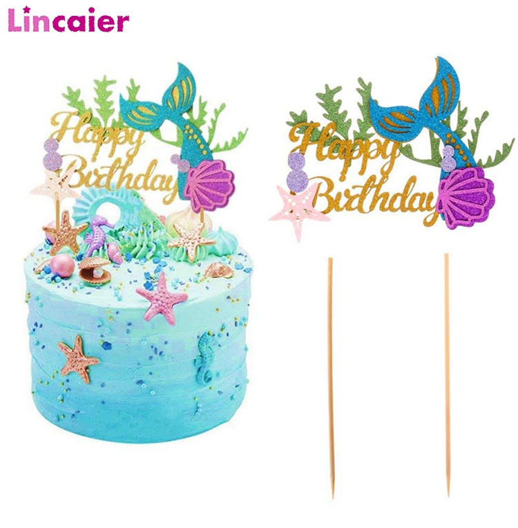24pcs Mermaid Tail Starfish Shell Cupcake Toppers Glitter Cupcake Decoratins LA