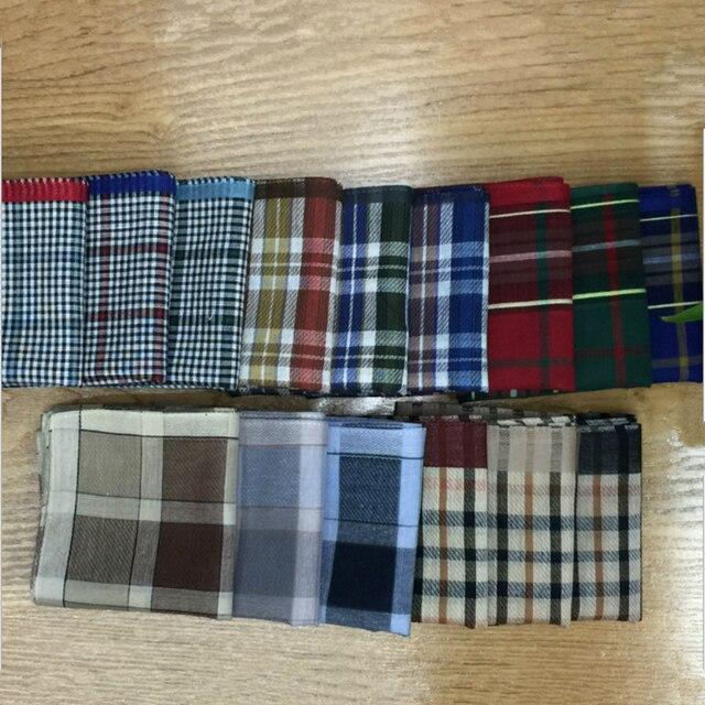 3Pcs/lot  Classic Vintage Plaid Stripe Handkerchief Hanky Men Pocket Squares 100% Cotton Business Casual Chest Towel