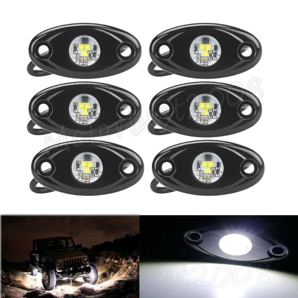 6pcs LED Rock Light Lamp Under Wheel Body Trail Rig Car Decorative Fender Dome Truck ATV SUV 4x4 Boat Amber White Green Red Blue 3w led eagle eye parking backup fog light lamp drl truck suv white blue green red led eagle eye under car body kit lamp