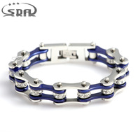 Silver Blue Wtih Crystal 316L Stainless Steel Bracelets For Women 10mm Wide Weight 50g Friendship Bracelets
