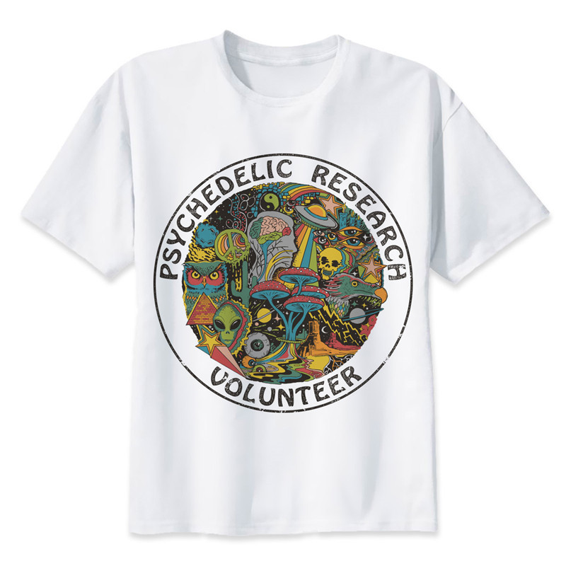 Psychedelic Research Volunteer T-Shirt <font><b>men</b></font> <font><b>Slim</b></font> Funky colourful Print t shirt male Vintage <font><b>Tshirt</b></font> funny top tees image