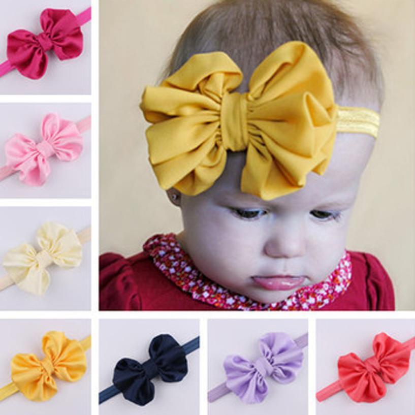 sweet baby girl flower elastic hair bands hoops newborn infant headband solid bunny ears bow girls headwear diademas bebes ninas