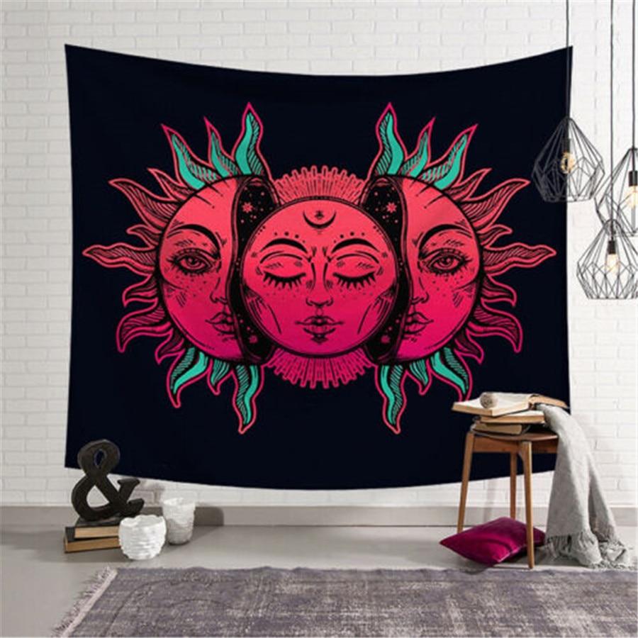 Sun Moon Palm Mandala Indian Tapestry Hippie Wall Hanging Bedspread Throw Cover Bohemian Beach Mat Home Decor 95x73cm Blanket