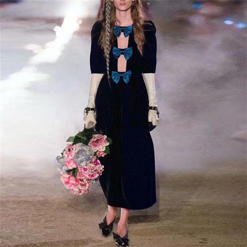 Women Dress 2019 High Quality Spring Designer Runway Three Quarter Sleeve Bow Velvet Elegant Party Dresses