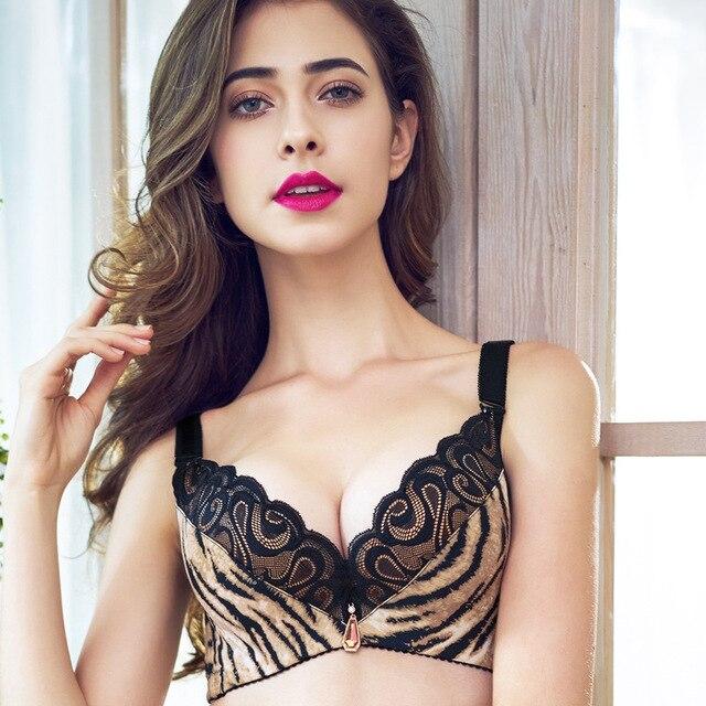28398cdb06a Brand lingerie High Quality Cotton Comfort Underwear women Sexy Leopard bras  lace bralette push-up Bra Big size Cup C 75C-95C