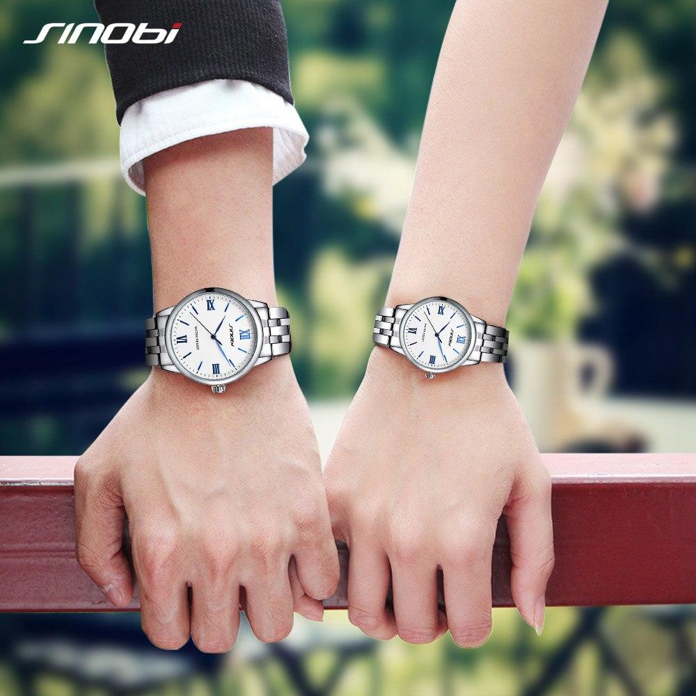 Sinobi Couple Watch Mens Watches Top Brand Luxury Quartz Watch Women Clock Ladies Dress Wristwatch Fashion Casual lovers Watch