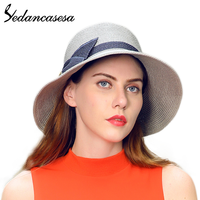 87fb9be066f Woman Beach Hats Floppy Wide Brim Foldable Straw Sun Hats for Women Fashion  Summer Straw Cap Bowknot UV protection SW120036