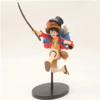 ONE PIECE The Straw Hat Pirates Monkey D. Luffy Backpack Shape Portgas.D.Ace Sabo Hat PVC Action Figure Toy BOX 19CM Z245
