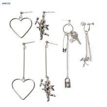 JAVRICK Купидон Угол Сердце Асимметричная подвеска металлическая кисточка висячие серьги Модные ювелирные изделия изысканные серьги