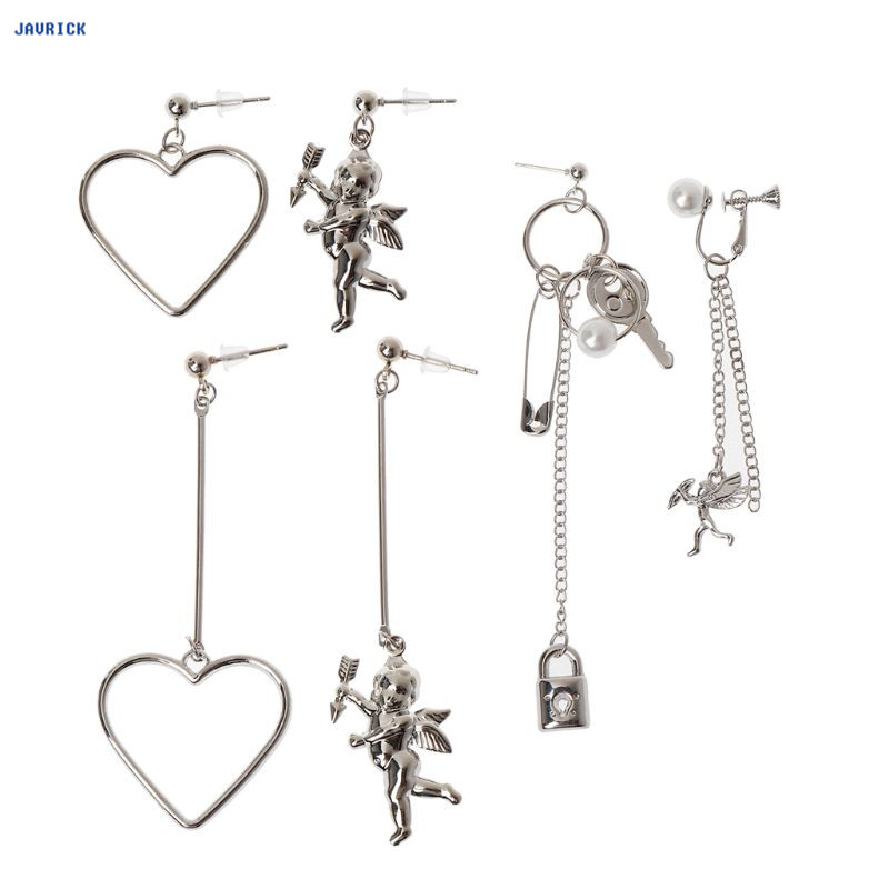 JAVRICK Cupid Angle Heart Asymmetric Pendant Metal Tassel Drop Earring Fashion Jewelry Exquisite Earrings