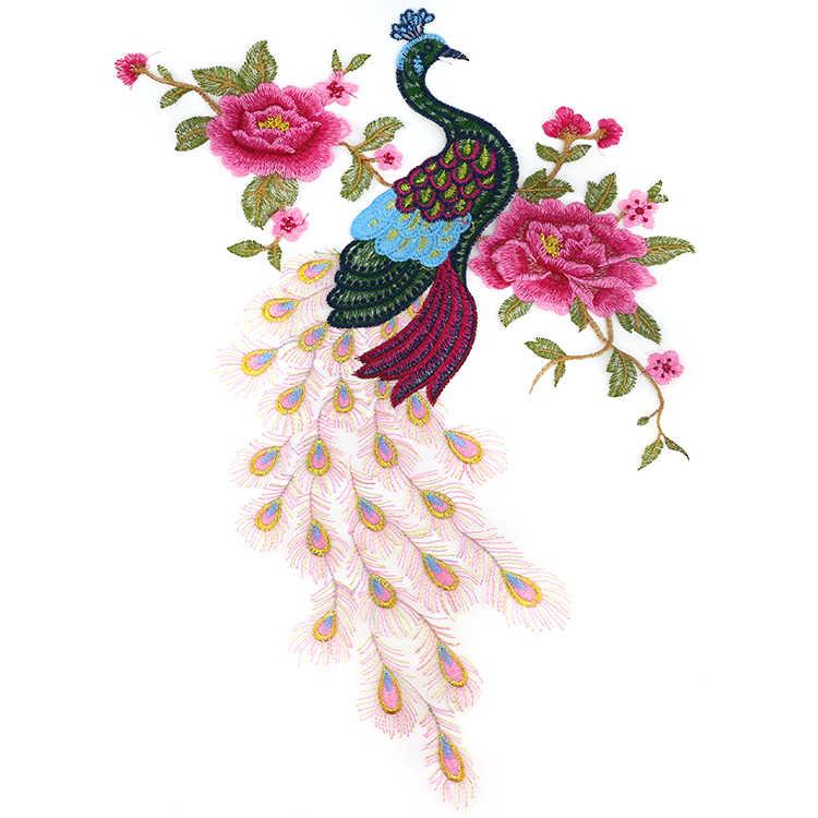 Motivo di ricamo Phoenix Patch Vestito Dal Fiore Decorativo di Grandi Dimensioni di Moda di Patch Del Pavone