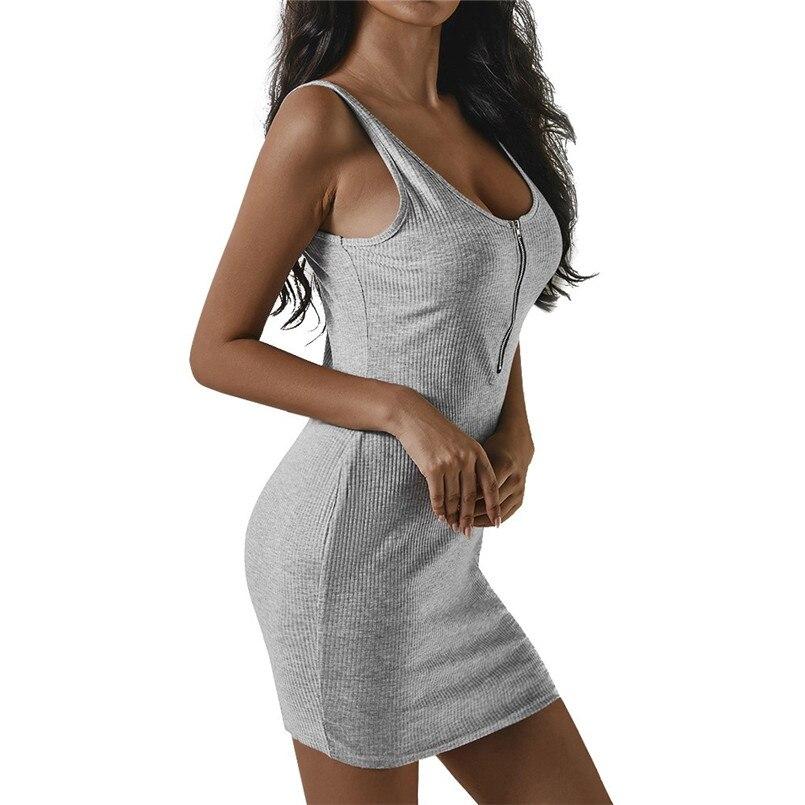 333d2534b80850 Aliexpress.com   Buy Fashion High Quality Seay Women Summer O Neck Zipper  Mini Dresses Sleeveless Solid Tank Dress Charming Sexy Dress elegant  30  from ...