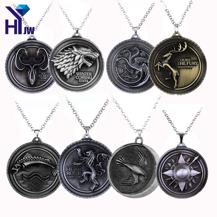 HEYu Game Of Thrones Daenerys House Targaryen Three Headed Dragon Pendant Necklace Metal ...