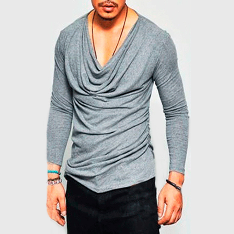 Mens Long Sleeve T-shirt Fold Irregular V-Neck Slim Fit Solid Casual Solid Tees Stylish 2018 Autumn Male Tops Hiphop Clothes