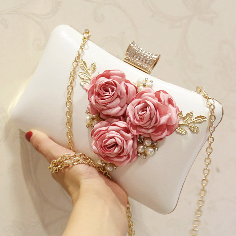 Detail Feedback Questions about 2018 Handmade Fabric Flowers Evening Women Clutch  Bags Luxury Wedding Bride Clutch Bag Pearl Party White Floral Purses ... 2775b43eb8b4