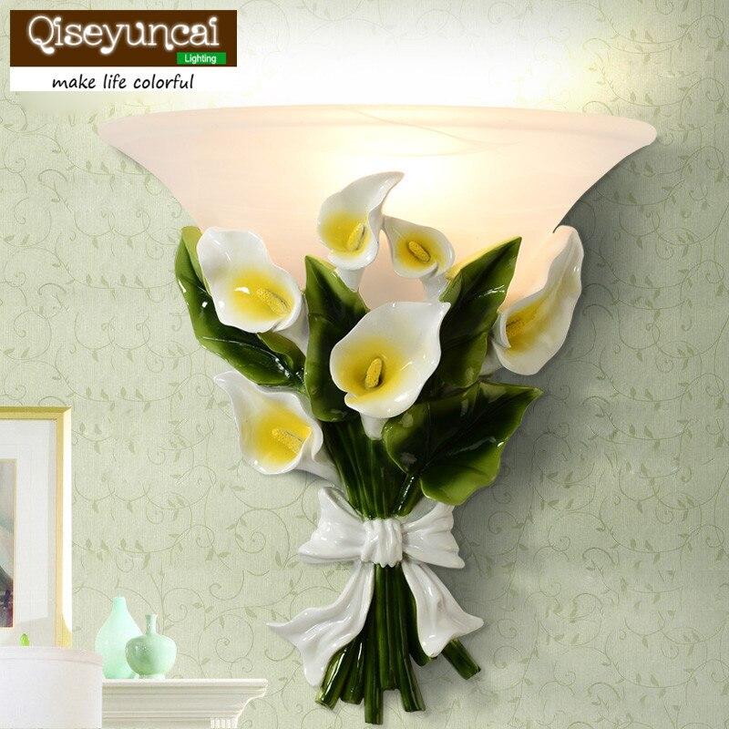 qiseyuncai 2018 nova europeu pastoral arte lampada de parede sala de estar fundo da parede do