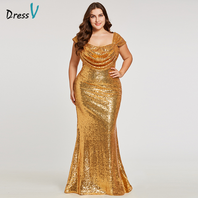 Dressv golden straps evening dress plus size draped cheap zipper up ...