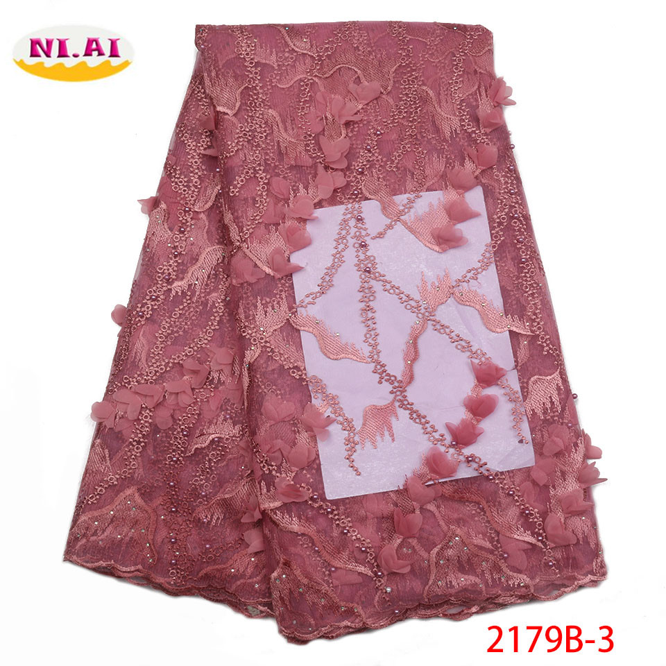 Latest 3D Beaded Lace Fabric 2018 Fashion African Lace Fabric Tulle French Lace Fabric High Quality
