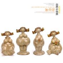 Creative ceramic angel fairy figurines home decor crafts room decoration Plump woman ornament wedding statue