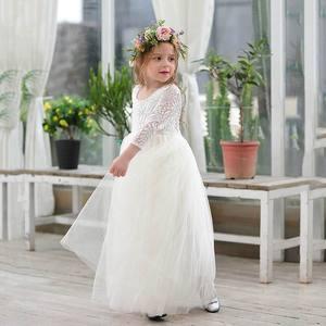 Image 4 - Toptan kız prenses elbise ayak bileği uzunluk düğün parti elbise kirpik geri beyaz dantel plaj elbise çocuk giyim E15177